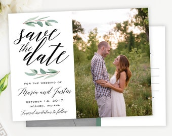 Save the Date Watercolor Eucaplyptus Greenery Photo Save the Date Postcard, Magnet