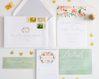 Wedding Invitation Watercolor Floral,  Calligraphy Watercolor Wedding Invite: MONICA.