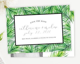 Tropical Save The Date Card, Palm Tree Postcard, Magnet