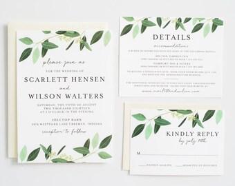 Greenery Wedding Invitation, Eucalyptus, Greenery Invite:  SCARLETT