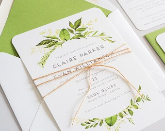 Watercolor Greenery, Woodland Wedding Invitation:  CLAIRE.