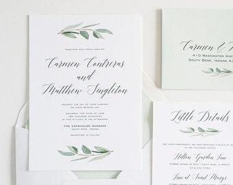 Wedding Invitation greenery Eucalyptus , Simple, Calligraphy Watercolor Wedding Invite: CARMEN