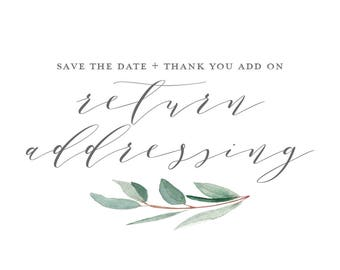Return Addressing on Envelopes - Save the date and Thank you Add On