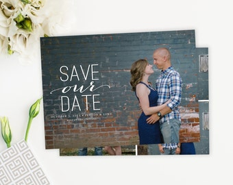 Photo Save The Date Card, Script, Simple, Save our Date Card Magnet Postcard