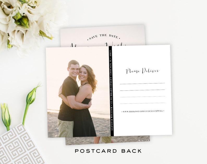 Custom Simple Handwritten Photo Save The Date Card Postcard Script Font Magnet