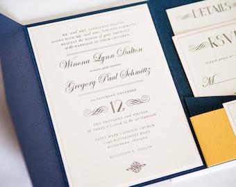 Elegant Navy, Blush, and Gold Wedding Invitation, Pocketfold Wedding Invitation,  WINONA.