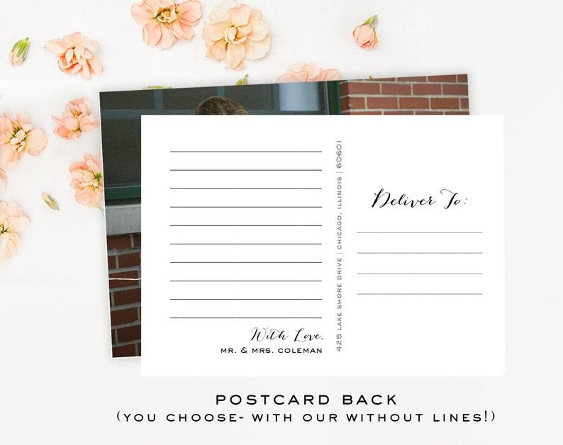 simple classic Calligraphy Script Wedding Thank you Photo Postcard
