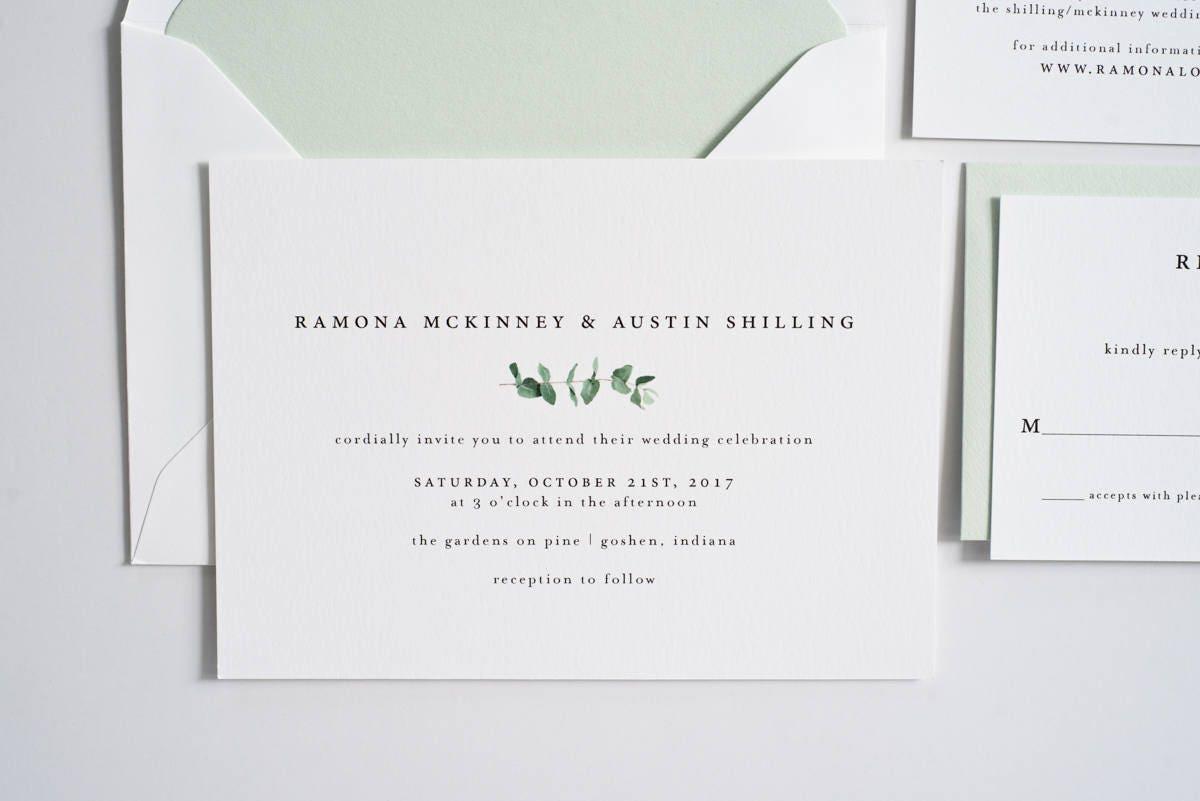 Greenery Wedding Invitation Eucalyptus Greenery Invite   Etsy