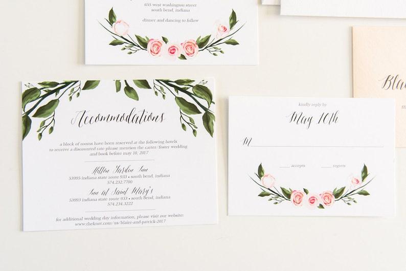 Watercolor Wedding Invitation Floral Wedding Invite Etsy