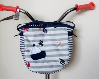 Lenkertasche,  Laufradtasche, maritim, Fahrradtasche, Kindergartentasche, Dreiradtasche, Rollertasche, Segeltasche für Kinder, Dreiradtasche