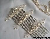 Handmade swarovski crystal diamante & pearl haircomb