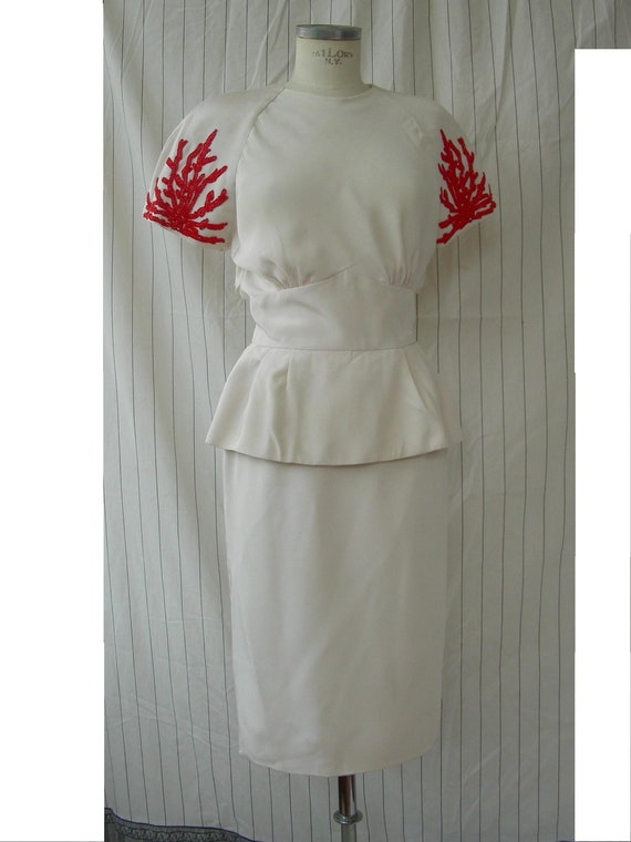 Vintage Silky Miss Onward Dress 80s Off white Size Small Silky Coral Textured Ruffle dress