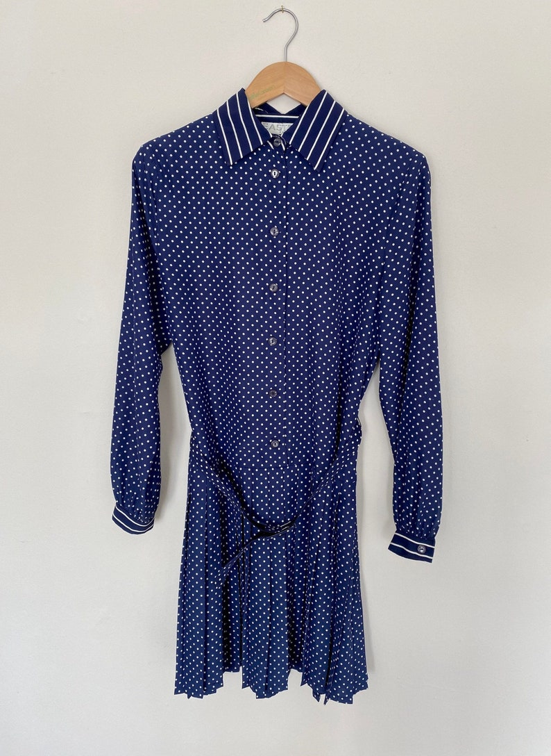 Drop Waist UK 12 Polka Dot Dress Pleated Dress UK 10 Navy Polka Dot Spot and Stripe Spot Navy Dress Long Sleeves