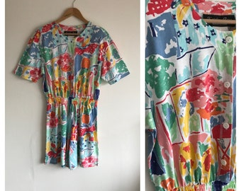 Vintage Jumpsuit, 1980's Jumpsuit, 80's Playsuit, Printed Jumpsuit, 1980's Romper, Summer Jumpsuit