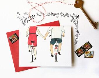 Bikes holding hands - Love card - couple holding hands - valentine card / LOV-BIKES