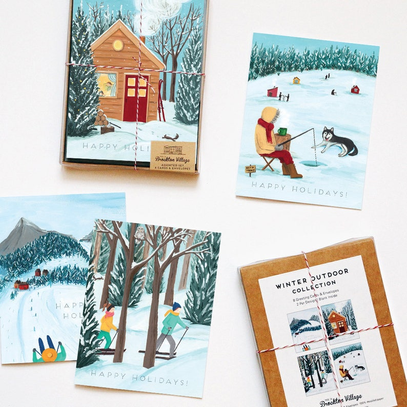 Assorted Box Of 8 Outdoor Winter Greeting Cards