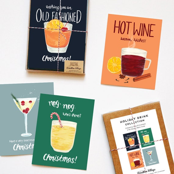 Assorted Box Of 8 Drink Recipe Greeting Cards