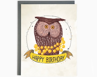 Happy Birthday - greeting card - owl celebrates / BIR-OWL