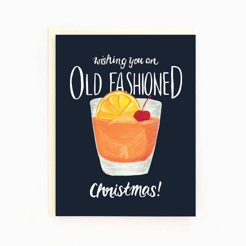 Holiday Drink Recipe Card Old Fashioned Wishing you an old | Etsy