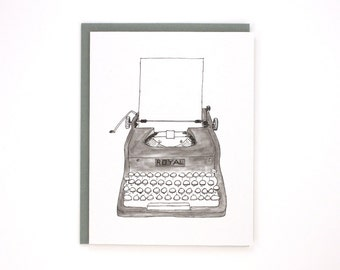 Typewriter black & white - Royal typewriter - blank greeting card / BLK-TYPEWRITER