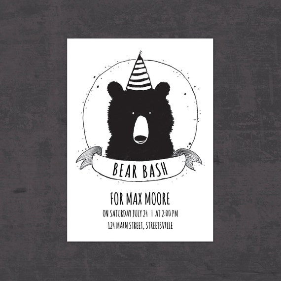 Birthday Invitation Bear DIY Kids