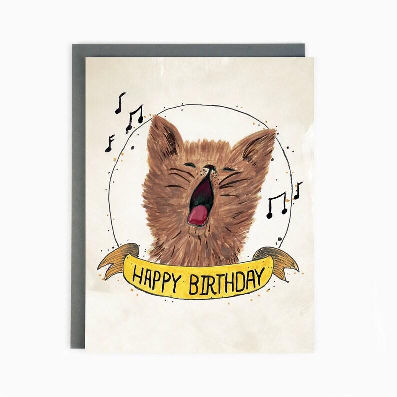 Happy Birthday Greeting Card Cat Celebrates BIR CAT