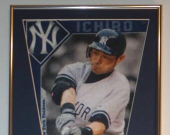 0e71a38b7 New York Yankees Ichiro Suziki Player Pennant & Cards...Custom Framed!