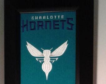 Charlotte Hornets Team Heritage Banner....Framed