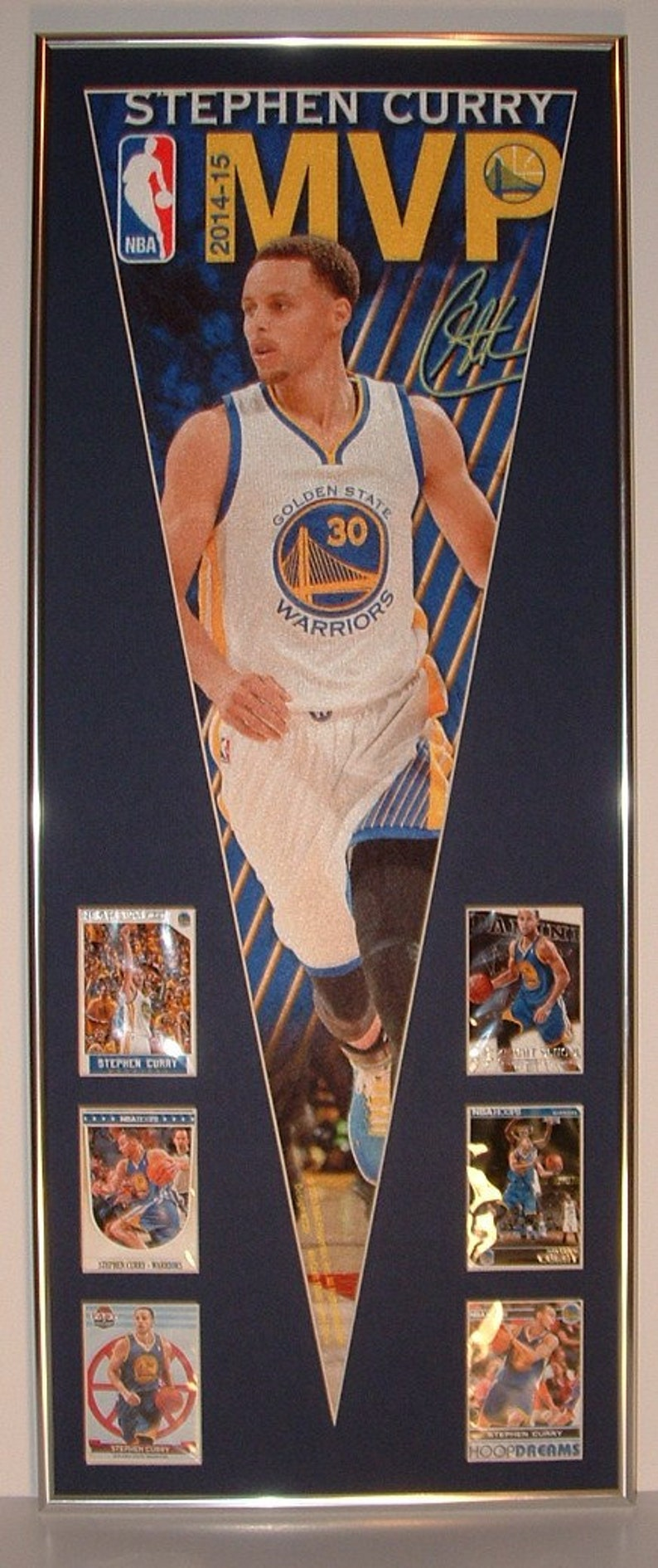 Nba Basketball Golden State Warriors Stephen Curry Pennant Cardscustom Framed
