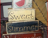 Sweet Summer Watermelon Primitive block Sign