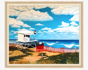 Large Beach Painting Beach decor Original beach art Original oil painting on canvas Coastal art Ocean oil painting Lifeguard tower Waves