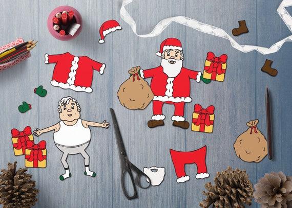 Children S Christmas Craft Activity Color Cut Paste Etsy