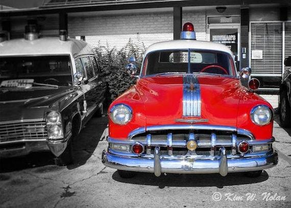 Car wall art Vintage Cars Photo Red Vintage Ambulance Red car   Etsy