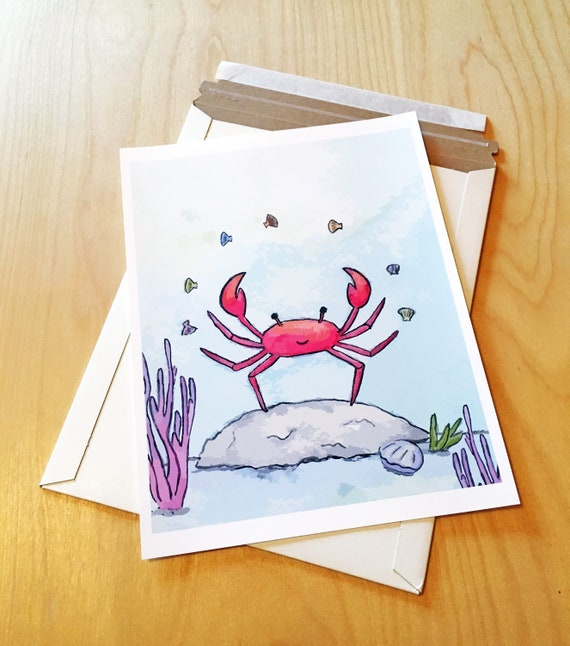 Whimsy Crab Custom Watercolor Baby Stationery