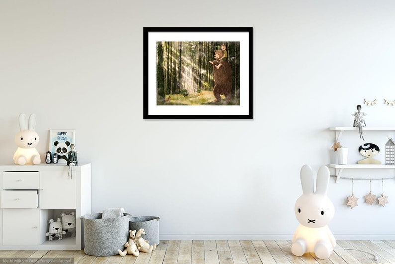Bear carrying a little boy on his shoulders through an enchanted forest with hummingbirds and squirrels Childrens illustration Art Print