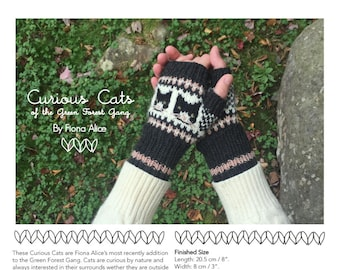 Curious Cats Fingerless Mitts - PDF Knitting Pattern
