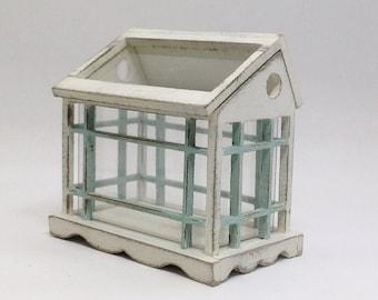 Greenhouse. Dollhouse miniature greenhouse. Table top greenhouse. Terrarium.Tiffany and white.