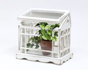 Scale 1:12 Greenhouse. Dollhouse miniature greenhouse. Table top greenhouse.