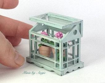 Scale 1:12 Greenhouse. Dollhouse miniature greenhouse. Dollhouse tabletop greenhouse