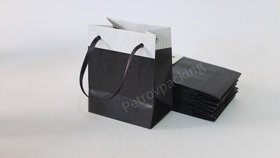 10 Extra Small Black Paper Gift Bags Ribbon Handles Hand Made Etsy