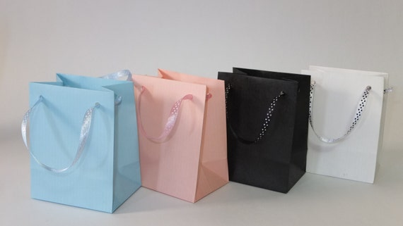 EXTRA SMALL BLACK PAPER GIFT BAGS PK OF 10 HANDMADE