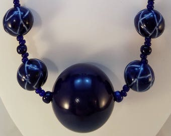 Navy Blue Statement Necklace & Earring set
