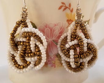 Brown and White Beaded Earrings