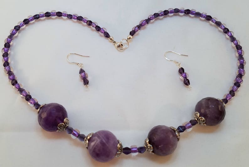 Purple and silver statement necklace /& earring set