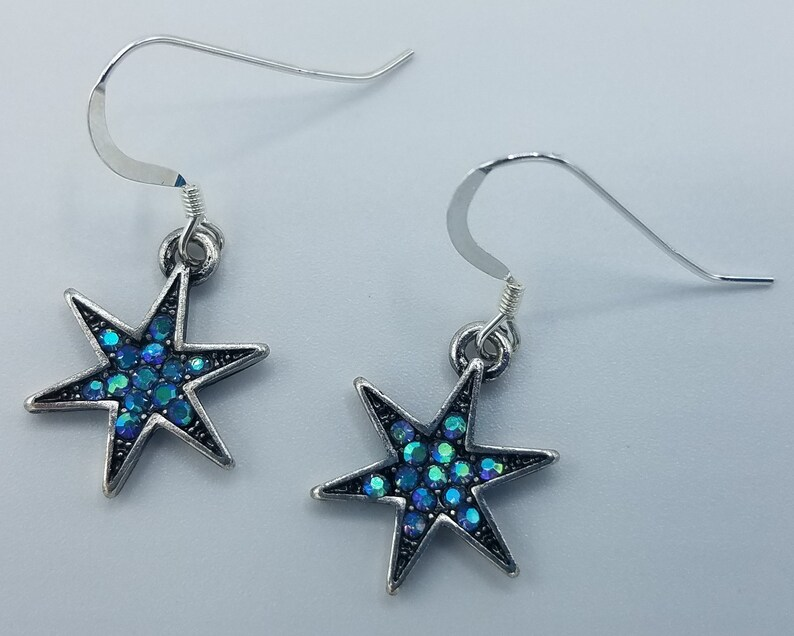 Silver and Blue Dazzling Star Earrings