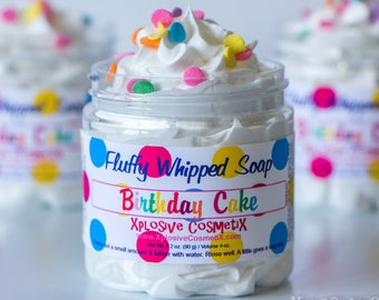 Fluffy Whipped Soap - Birthday Cake - Happy Birthday Soap, Body Wash, Vegan Friendly, Vanilla, Buttercream, Rainbow Sprinkles, 4 oz.