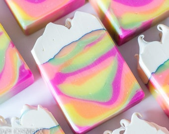Clouds n' Rainbows Bar Soap - Rainbow Soap, Handmade Soap, Artisan Soap, Coconut Milk Soap, Vegan Soap, Cold Process Soap, Soaps