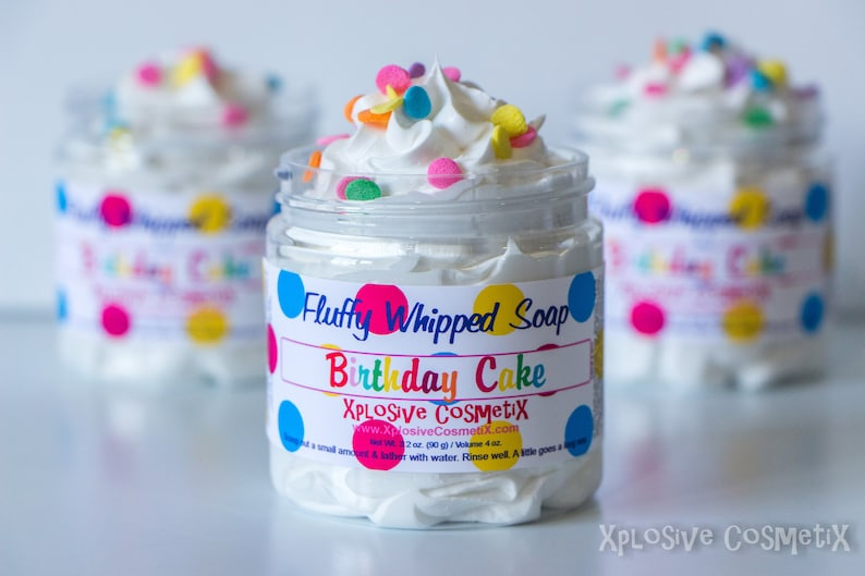 Fluffy Whipped Soap Birthday Cake Happy