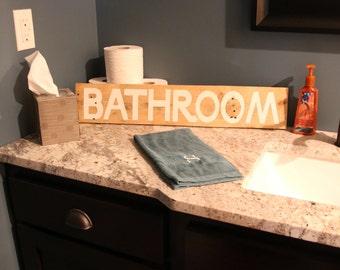 Bathroom Wooden Sign