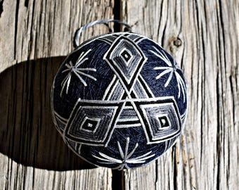 Grey and Navy Temari Ball, Japanese Neutrals Temari Ball, Japanese Folk Art, Mitsubishi Temari Ball Ornament, Christmas Temari Ball Ornament